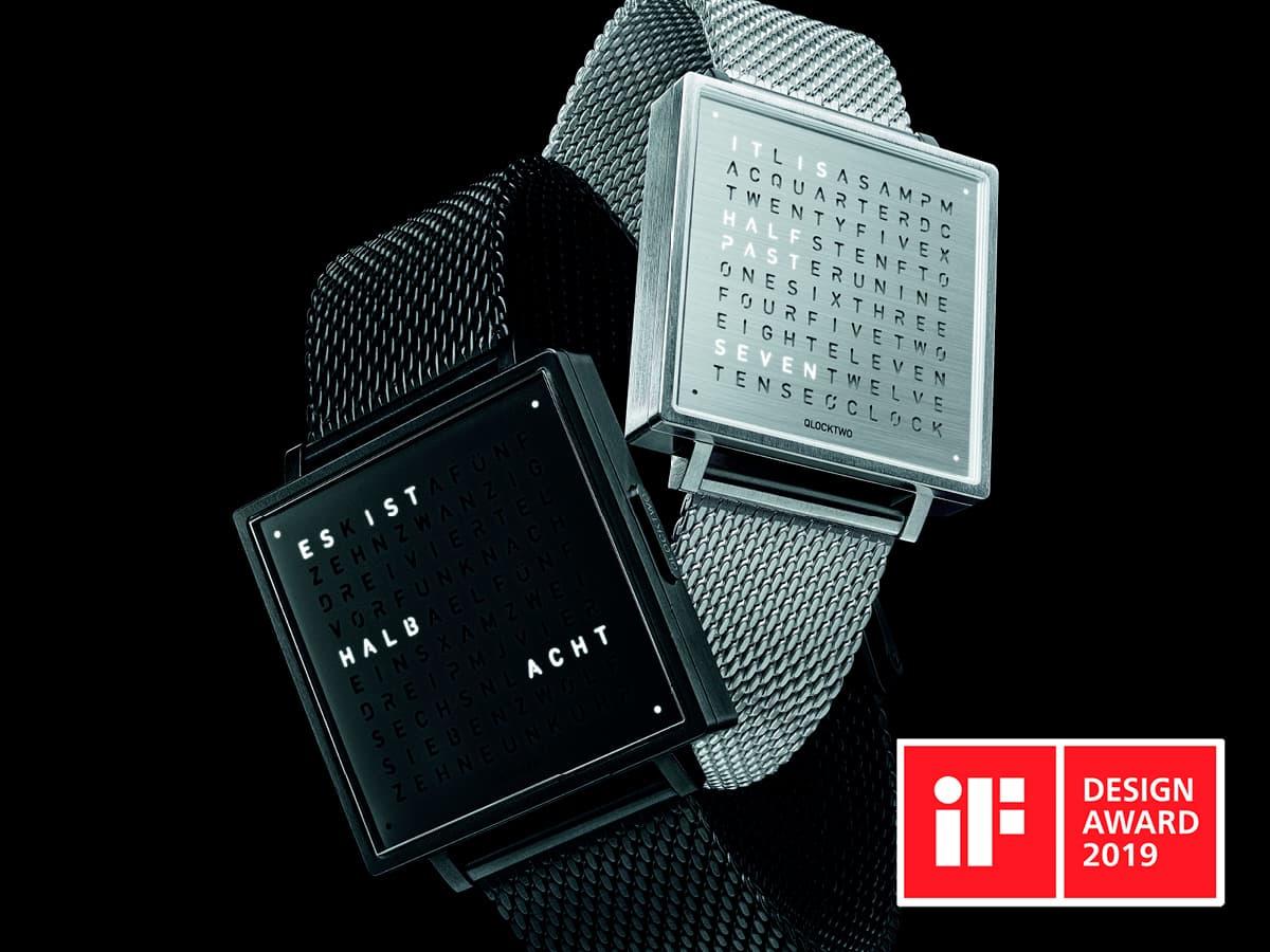 qlocktwo horloge watch design award 2019 van ledden exclusief